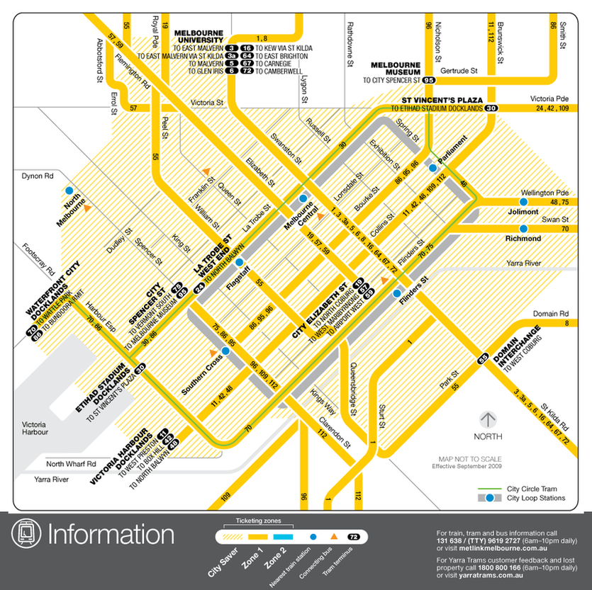 Melbourne City Tram Map Public Transport
